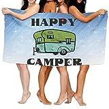 Shenigon Bath Towel, Happy Camper Quick Dry Large Swim Beach Towels