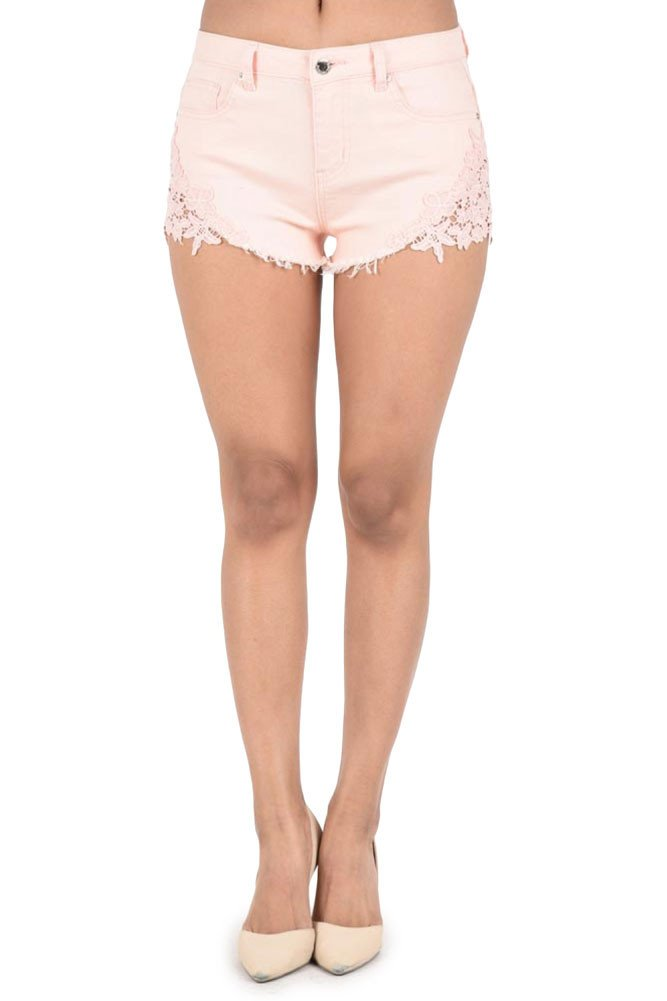 G-Style USA Women's Colored Cut-Off Side Lace Shorts - Peach - X-Large - CC10C
