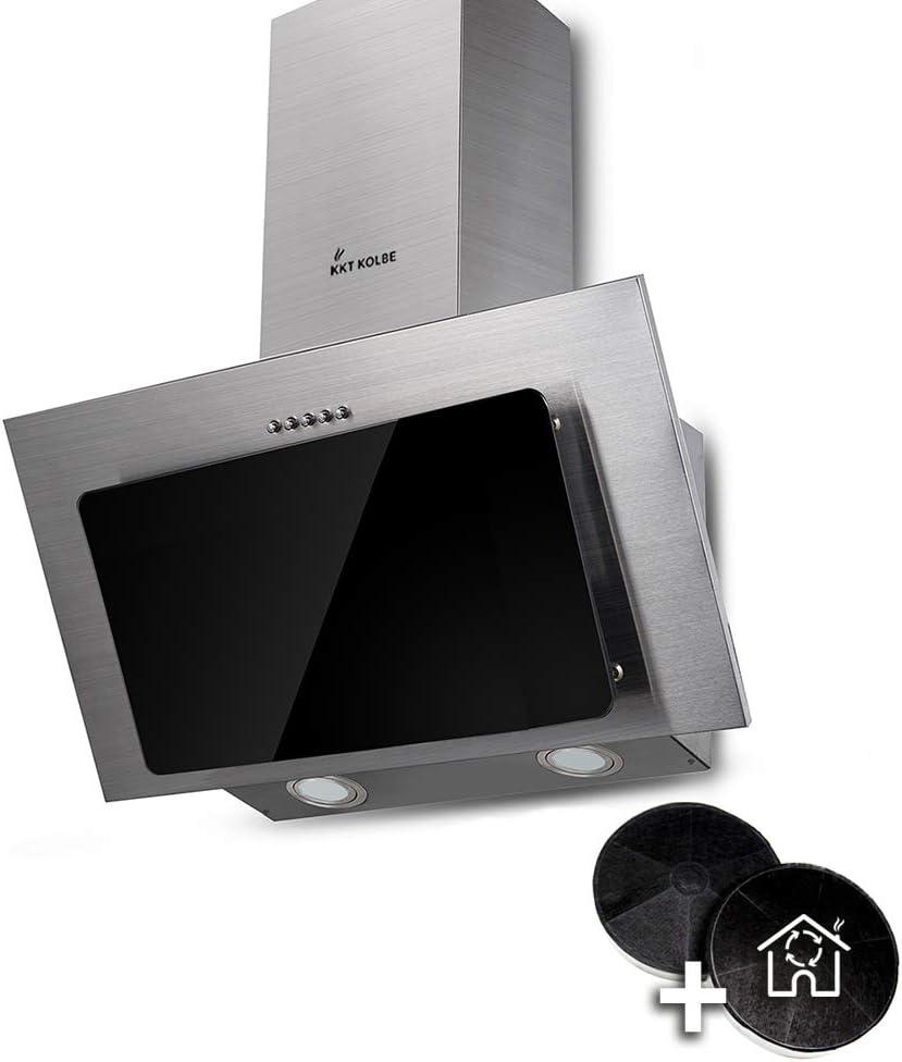 Campana extractora de pared (60 cm, acero inoxidable, cristal negro, iluminación LED, 3 niveles, pulsadores) BASE604ED - KKT KOLBE