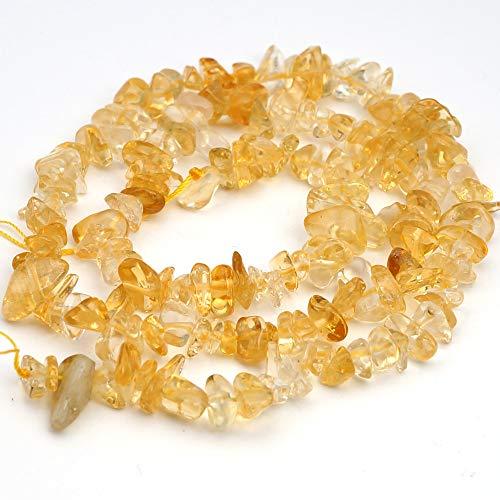 "One 15"" Strand Small Yellow Orange Citrine Nugget Beads Average Length 6mm"