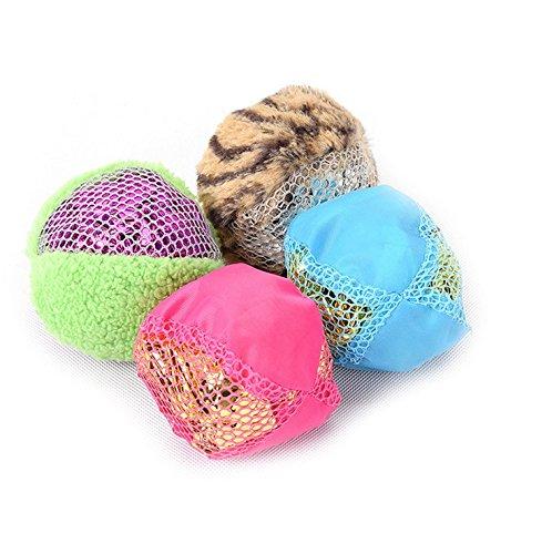Crinkle Shell - Stock Show 4Pcs Cat Balls Toys Mylar Crinkle Filled Lightweight Sound Interactive Playtoys for Pet Kitty Kitten, Blue + Green + Rose Red + Tiger Stripe