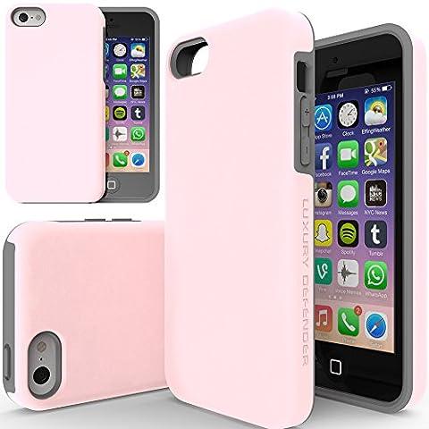 iPhone 5c Case, TEAM LUXURY [Double Layer] Defender Series [Shock Absorbing] Apple iPhone 5C Case - Pink/ (Pink Iphone 5c Phone Case)