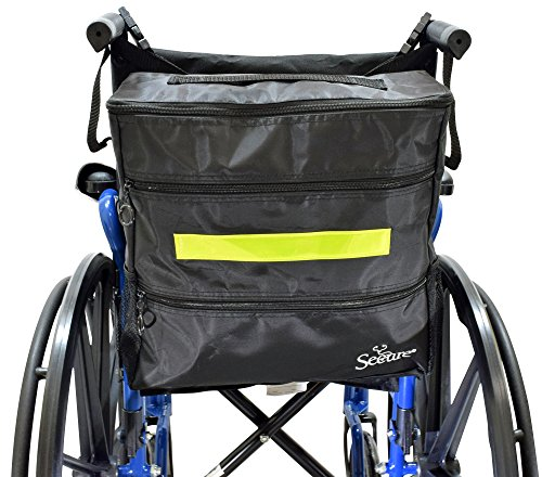 Secure WBP-1B Wheelchair Storage Backpack Bag with Multiple Pockets and Nighttime Safety Reflector, Black (13'' x 12.5''x 3'') by Secure (Image #1)