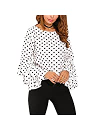Changeshopping Blouse Women's Elegant Chic Bell Sleeve Polka Dot Shirt Tops S-2XL