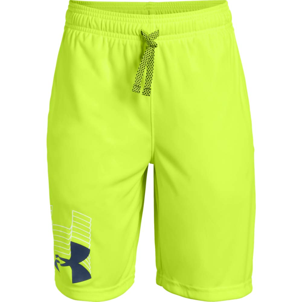 Under Armour boys Prototype Logo Shorts, High-Vis Yellow (731)/Academy, Youth X-Small