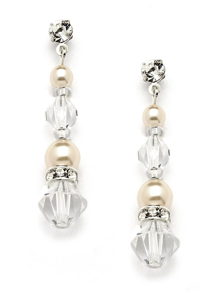 Mariell Handmade Ivory Glass Pearl & Crystal Dangle Earrings for Weddings, Brides, Bridesmaids or Prom