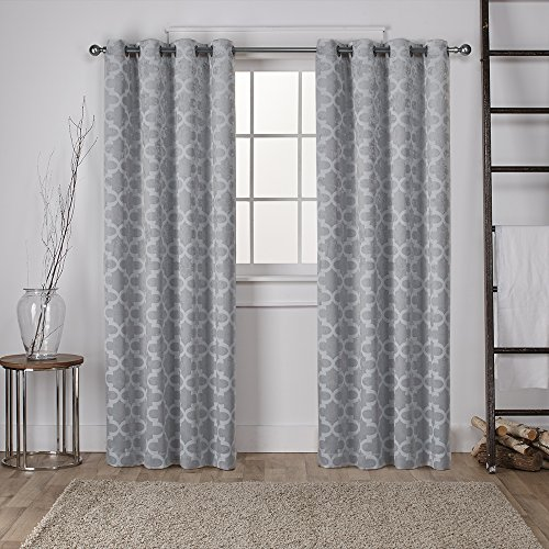 Exclusive Home Cartago Insulated Woven Blackout Window Curtain Panel Pair with Grommet Top, Dove Grey, 54x84, 2 (Four Piece Panel)