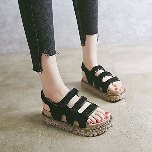 Sandal Sandal Student Toe For Roman Leather Round Women Summer CYBLING Fashion Black Thick Bottom Flat xqPfYOcUt
