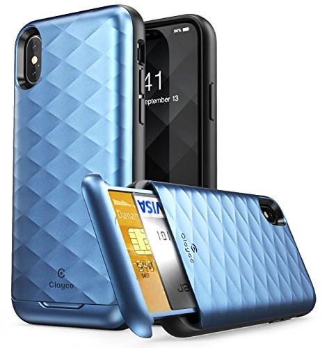 iPhone XS Wallet Case, iPhone X Wallet Case, Clayco [Argos Series] Premium Hybrid Protective Wallet Case Credit Card Slot Holder for Apple iPhone XS 2018 / iPhone X 2017 (Blue)