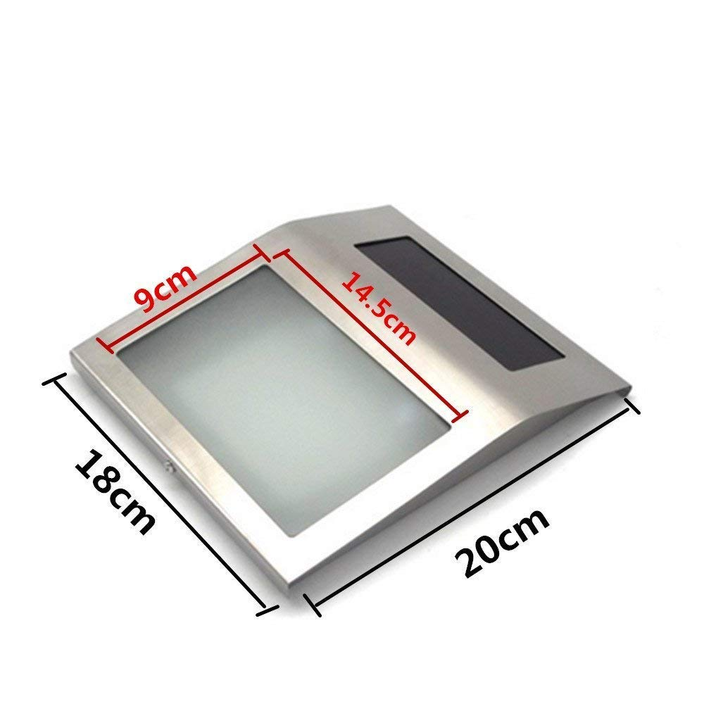 Froadp LED Num/éro de Maison Solaire en Acier Inox avec 2 LED Applique Murale avec Interrupteur Cr/épusculaire Lumineux Ext/érieur /éclairage