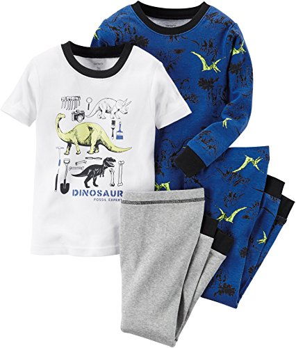 Carters Baby Boys 4-Piece Glow-In-The-Dark Cotton PJs Fossil Expert 12M