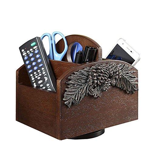 (Nwn Desktop Organizer Creative Solid Wood European Multi-Functional Storage Box Rotary Remote Storage Shelf (181418cm) Brown)
