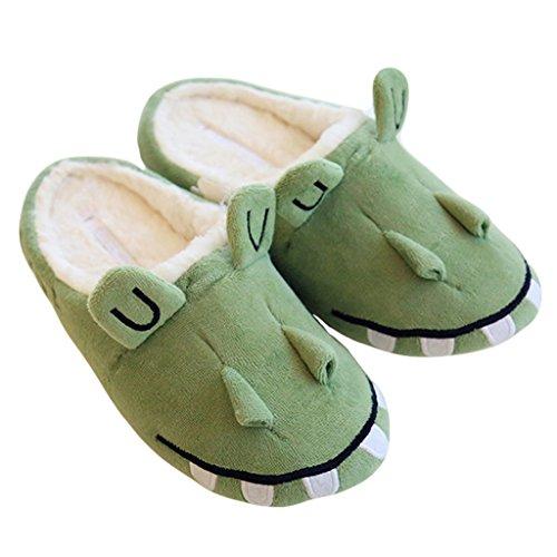 Fortuning's JDS Unisexe Adultes Couple Confortable Coton Maison Chaussures Charmant vert Crocodile agréable Chaussons