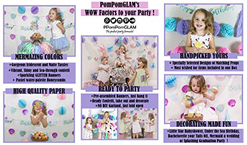 Mermaid Tails Under The Sea Decorations Supplies Kit for Birthday, Bridal & Baby Shower Themed Let's Be Little Mermaids Party - Premium Quality by PomPomGLAM Photo #4