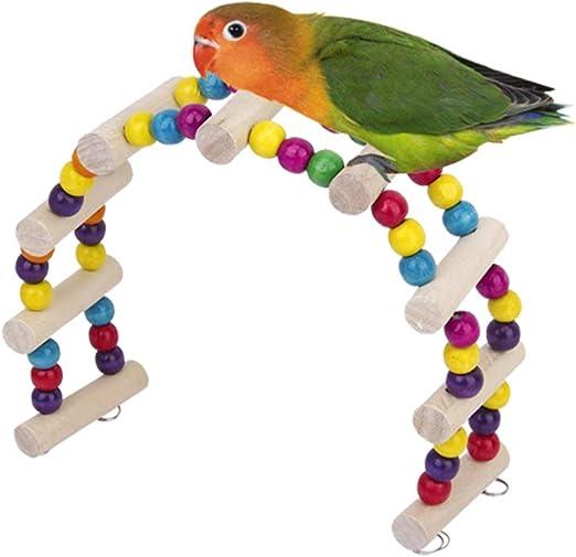 Hieefi 1PC Loro Escalera De Madera Escalera Oscilación Masticable Juguete Pequeños Animales Puente Juguete para Mascotas Puente del Loro Juguete Escalera Jaula para Pájaro del Loro: Amazon.es: Productos para mascotas