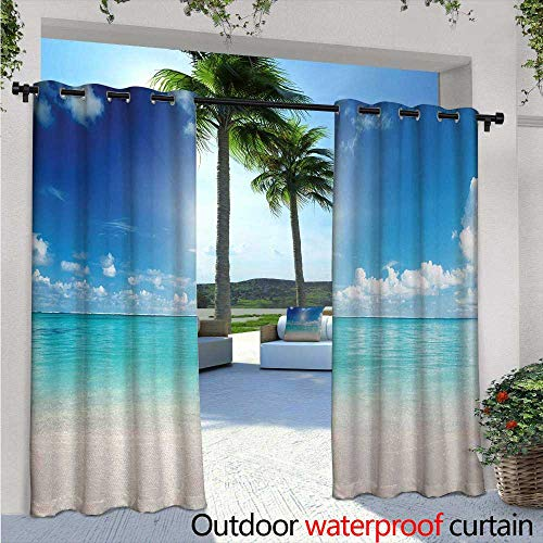 Crewel Drape - Ocean Outdoor Privacy Curtain for Pergola W96 x L96 Sky and Sea Landscape Sand Tropical Beach Clouds Sun Hot Heaven Summer Thermal Insulated Water Repellent Drape for Balcony Cream Turquoise White