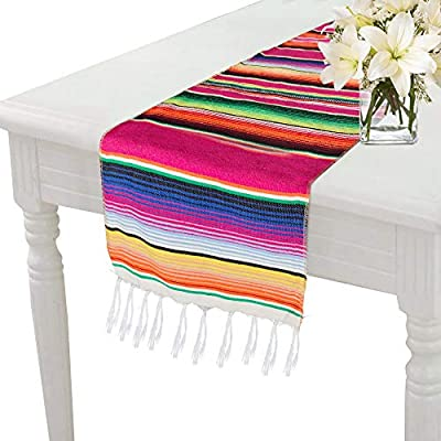 Morinostation Mexican Table Runner 14 x 84 inch Mexican Party Wedding Decorations, Fringe Cotton Serape Blanket Table Runner - ● Mexican table runner 14 x 84 inch, (Pink). Great gift for holiday for those who love southwestern deco, Mexican blanket table runner ● Mexican blanket table runner made of cotton and tassel, material sewn on both ends so will not unravel ● Mexican table runner cloth Great for traditional mexican wedding, mexican themed party, Fiesta or Cinco de Mayo celebration, mexicana party and tribal party - table-runners, kitchen-dining-room-table-linens, kitchen-dining-room - 51jZBGc1DlL. SS400  -