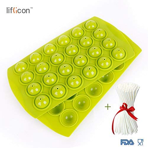 Liflicon Silicone Lollipop cake Tray Mold-24 Cavities Baking Mold Cake Pop Stick Mold Tray Hard Candy, Lollipop and Party Cupcake for Halloween Christmas Parties BPA Free with lollypop Sticks-Green ()