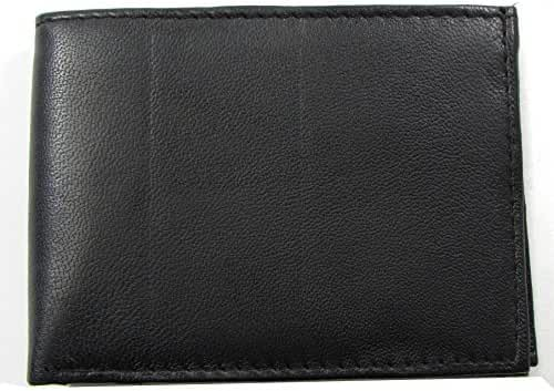 Durable Mens Wallet Black Leather Bifold Extra Flap 6 Credit Card Slot