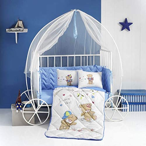 (PikaBaby 4-Piece Crib Bedding Set(100% Cotton) Complete Nursery Bedding Set with Crib Fitted Sheet, Toddler Pillowcase, Crib Quilt with Detachable Protector, Modern Crib Bumper for Baby(Bear))