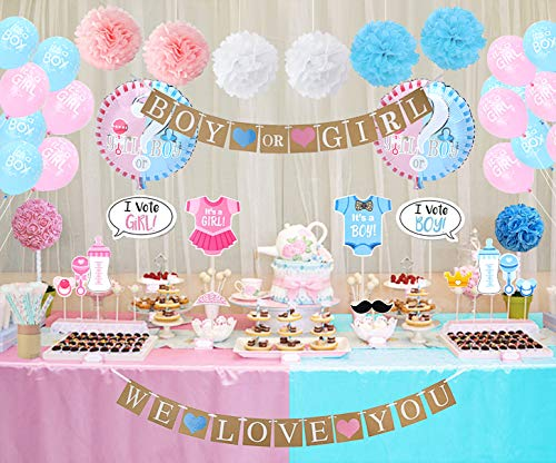 Gender Reveal Party Decorations Boy or Girl Gender Reveal Balloons Photo Booth Props Straws for Baby Shower Decorations 84 Pack ()