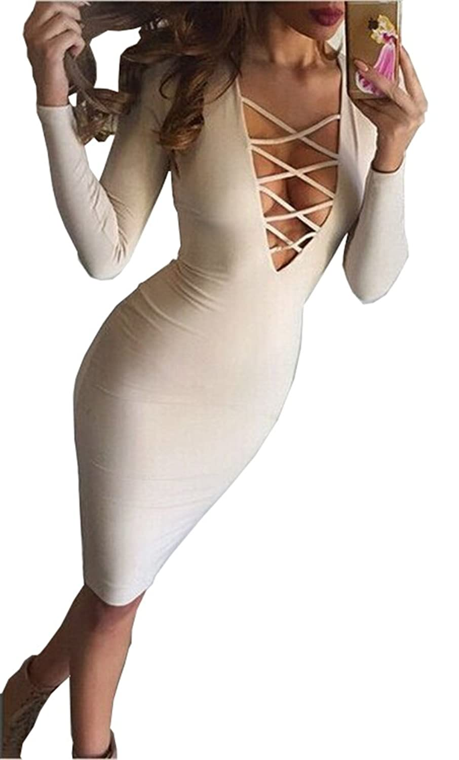 Medely Women's 2016 Stretch Long Sleeve Bodycon Party Bandage Dresses