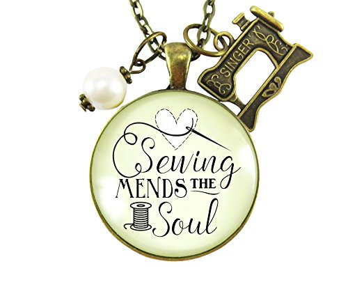 "24"" Sewing Mends the Soul Seamstress Necklace Bronze Jewelry Vintage Sewing Machine Charm from Gutsy Goodness"
