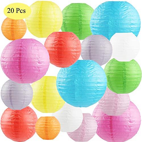 """SdeNow 20 Pcs Paper Lanterns (Multicolor,Size of 4"""","""