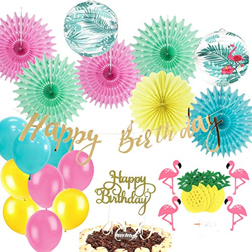 EasyJoy Tropical Pink Flamingo Hawaiian Luau Birthday Party Decorations Flamingo Pineapple Banner Paper Fans Happy Birthday Banner Glitter Gold Cake Topper 20 Pieces ()