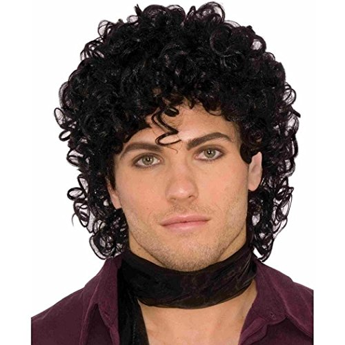 Wig Rock Star Costumes Accessories (80s Rock Star Royalty Wig Black One Size)