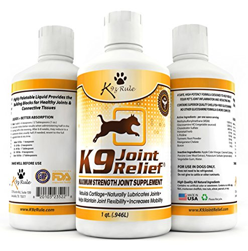 (K9 Joint Relief: Glucosamine for Dogs, Liquid Joint Supplement with Chondroitin and MSM, Pain Relief for Arthritis, Hip Dysplasia, Aging, Etc., 32 Ounce)