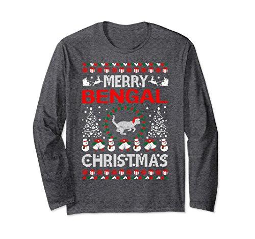 Unisex Merry Bengal Cat Christmas Ugly Sweater Tshirt XL: Dark Heather