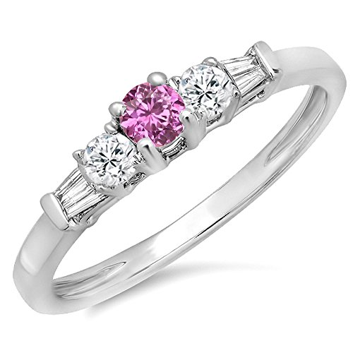 14K White Gold Round & Baguette Pink Genuine Sapphire & White Diamond 3 Stone Engagement Bridal (Pink Sapphire Baguette)