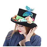 ZLQ Steampunk Hat Vintage Wool Feathered Green Top Hat with Goggles Top Hat (Color : Black, Size : 59CM)