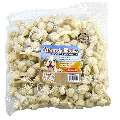 Loving Pets Rawhide Knotted Bones - Loving Pets Dlv4100 Natures Choice 100-Pack Natural Knotted Rawhide Bone For Dogs, 3-Inch, White