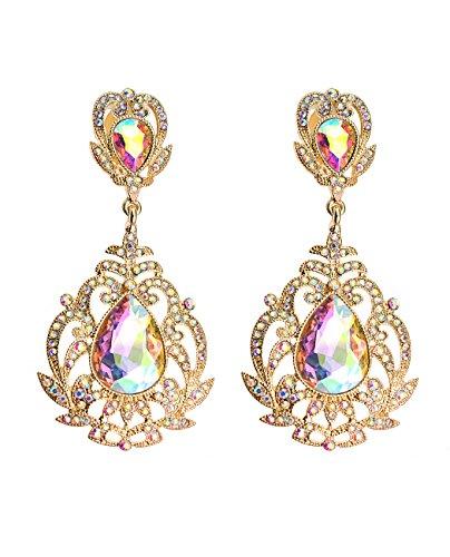 Stones Aurora (Rhinestone Studded Filigree Teardrop Stone Clip On Fashion Earrings, Aurora Borealis/Gold-Tone)
