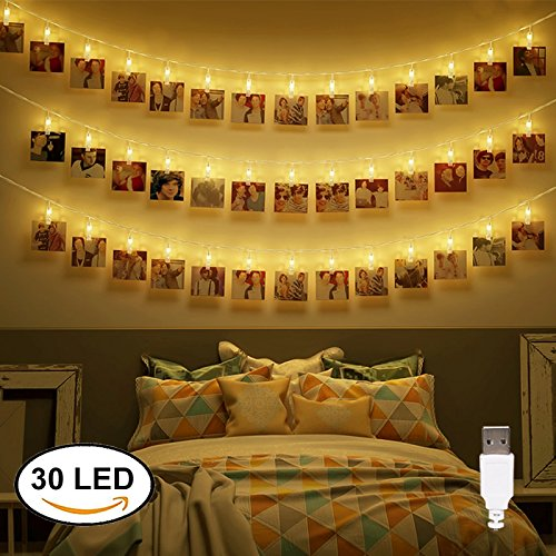 Dadiii 30 LED Photo Clip String Lights Christmas Lights for Hanging Photos, Pictures, Cards, Ideal Gift for Wedding, Party, Christmas Decoration, Powered by USB ( Warm Light )