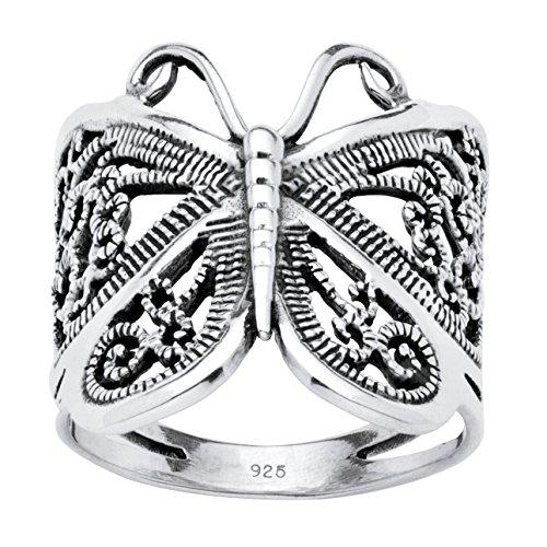 Seta Jewelry Filigree .925 Sterling Silver Butterfly Wrap Ring