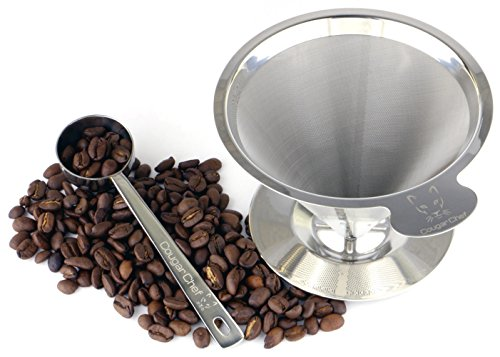 Single Cup Coffee Maker by Cougar Chef - Permanent, Paperless, Reusable Coffee Filter Cone - Double Mesh Stainless Steel Pour Over Coffee Dripper with Stand and Coffee Scoop