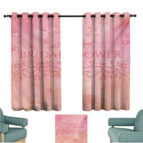 DONEECKL Kids Room Curtains Bridal Shower Bride Invitation Grunge Abstract Backdrop Floral Design Print Noise Reducing Curtain W63 xL45 Pale Pink and Salmon (Western Bridal Shower Invitations)