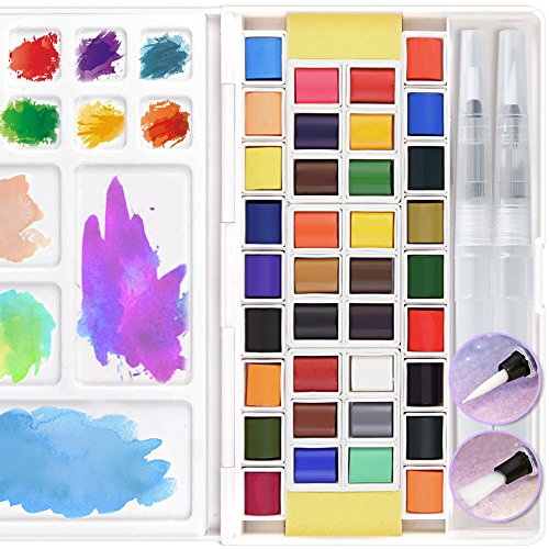 36 Assorted Watercolor Paints Set Travel Pocket Solid Water Color Paint Kit  with Water Brushes Sponges Mixing Palette Professional Art Supplies for