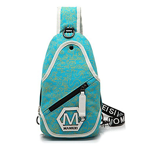 6 Bag De Moda Escolares X mochilas l h Wewod Hombro Hombro Lona bolsas Cm Pecho sling 41 Bolso Hombre Azur 24 w 86p6wqa5