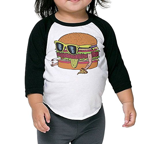 Hanxiaoxiao Kids Dope Burger Leisure Fit Black Cute Tee 3 Toddler Crew Neck 1/2 Sleeve Raglan T-Shirt