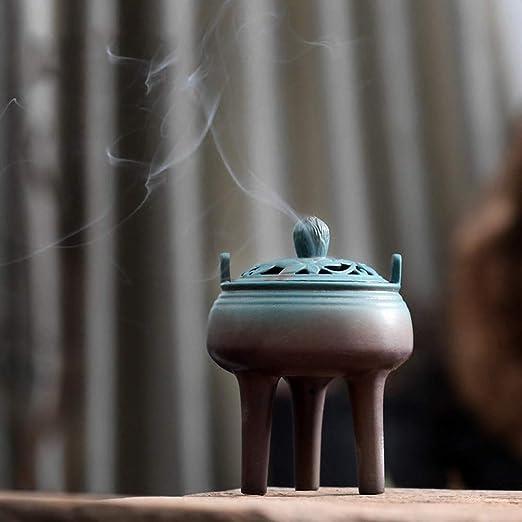 Alta hornilla de Incienso del trípode de Tres pies, Estufa de cerámica de Aromatherapy, Incienso casero de la Bobina de Interior, Ceremonia del té, ...