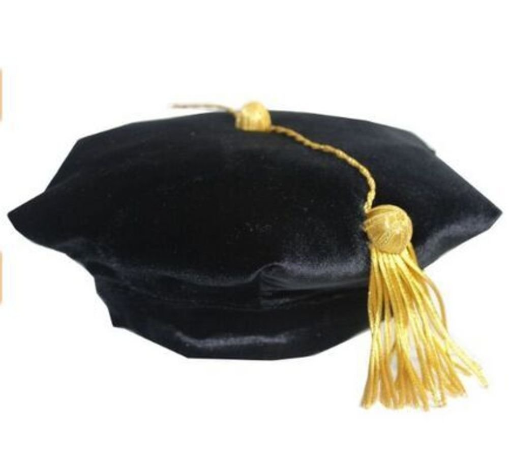 Fristaden Black Velvet Doctoral Graduation Tam 6-Sided Gold Tassel Satin Band Sided One Size XS-XL
