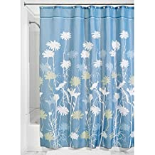 InterDesign Daizy Fabric Shower Curtain, Long, 72-Inch by 84-Inch, Blue and Sage