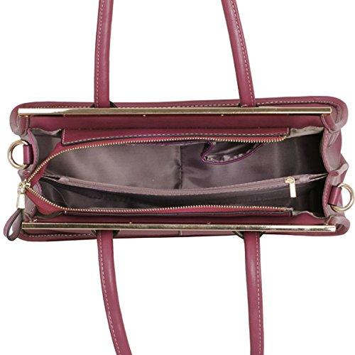 Xardi London-Borsa da donna, da ufficio in pelle sintetica, da donna, con tracolla e tracolla lunga, sacchetti Plum