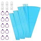 Kootek 28 Pieces Cake Decorating Tools with 12 Pack 3 Sizes (12''+14''+16'') Reusable Silicone Icing Pastry Bags, 6 Standard Couplers and 10 Piping Bag Ties Baking Supplies for Cupcake Cookies