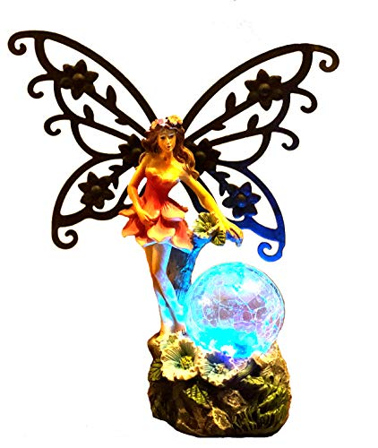 - Bo-Toys Solar Powered Fairy Angel with Metal Wings and Solar Glowing Ball, Garden Light Decor