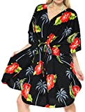 LA LEELA Likre Printed Short Caftan Dress Women Black_78 OSFM 14-28W [L-4X]